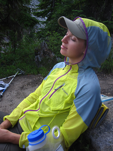 Camping and enjoying the mosquito free jacket.