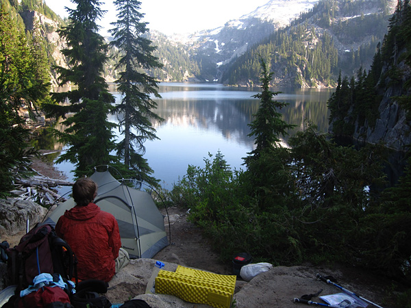 Camping in the Cascades by an alpine lake.