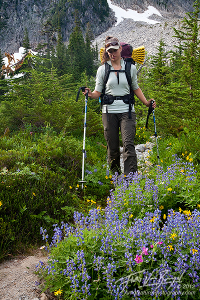Hiking in the cascades with flowers