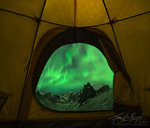 Watching Aurora Borealis from a Tent, Brooks Range, Alaska