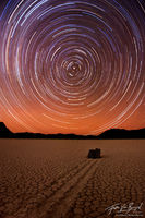 Star Trails over the Racetrack, Death Valley National Park, California, rocks racing stars, north star, playa, moving ro