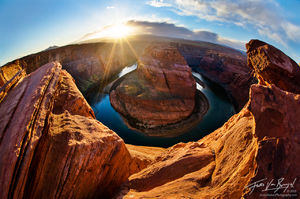 Unique image of Horseshoe Bend, Grand Canyon, Arizona, flat no more, fisheye
