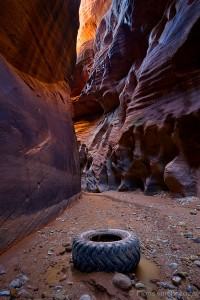 Tire in Slot Canyon, Buckskin Gulch, Arizona, canyon trash, trash