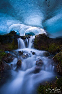 Frozen Ice Cave in the Mountains, Olympic National Park, Washington, bailey range, snow, winter, spring, blue, frozen pa