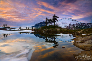 Mount Baker Reflected in Tarn, Snoqualmie National Forest, Washington, mountain dreaming, cascades