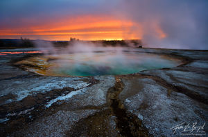 Devils Hot Tub, Yellowstone National Park, Wyoming, sunrise, otherworldly