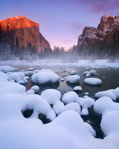 El Capitan and Merced River with Snow in Winter, Yosemite National Park, California, snow pillows