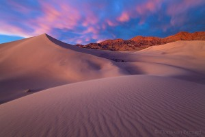 Sand Dunes and Moving Clouds, Death Valley National Park, California, sunset