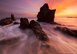 El Matador Sunset, Malibu, California, salty watercolors, malibu