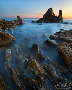 Corona del Mar Seascape, Los Angeles, California, ocean, long exposure, sea castle