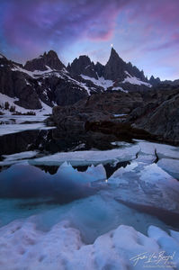 Minarets reflected in Minaret Lake with Ice, Ansel Adams Wilderness, California, sierra nevada