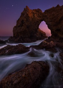 Beach Arch at Night, Laguna Beach, California, jupiter, rocky shores, twilight, star