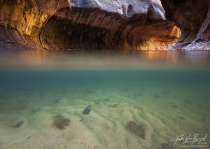 The Subway Underwater, Zion National Park, Utah, submerged, underwater, left fork