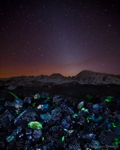 Zodiacal Light and Fluorescent Minerals, Owens Valley, California, tungsten hills, bishop, tailings, whitecap mine, sche