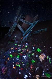Fluorescent Minerals Mine Tailings, Darwin Mines, California, fluorescent treasures, darwin, scheelite, calcite, fluorit