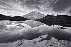 Mt Rainier, Reflected, Clouds