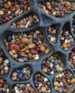 Pebbles in Tafoni, Santa Cruz, California, coast