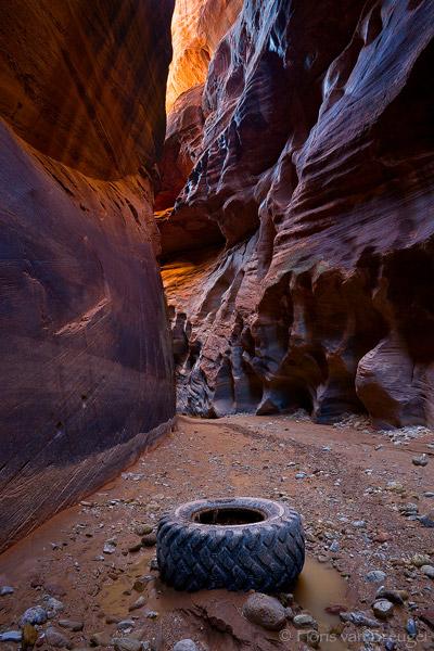 Tire in Slot Canyon, Buckskin Gulch, Arizona, canyon trash, trash, , photo