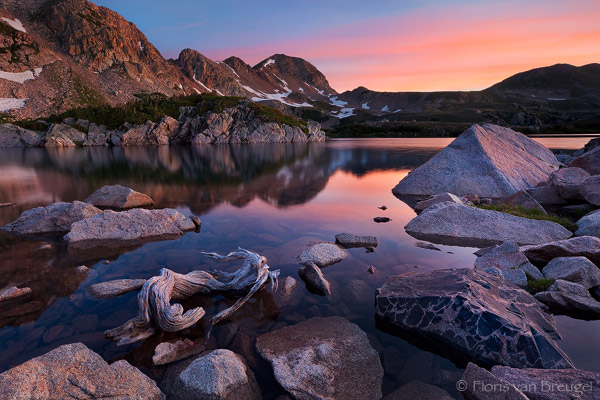 Sunrise over Island Lake, Rawah Wilderness, Colorado, peace in rawah, photo