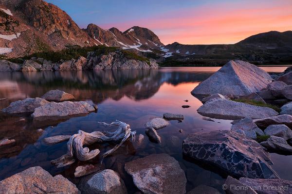 Sunrise over Island Lake, Rawah Wilderness, Colorado, peace in rawah, photo