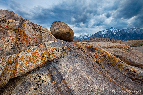 Granite Boulders and Sierra, Alabama Hills, California, granite lullaby, lone pine, storm, sierra nevada, lone pine peak, photo