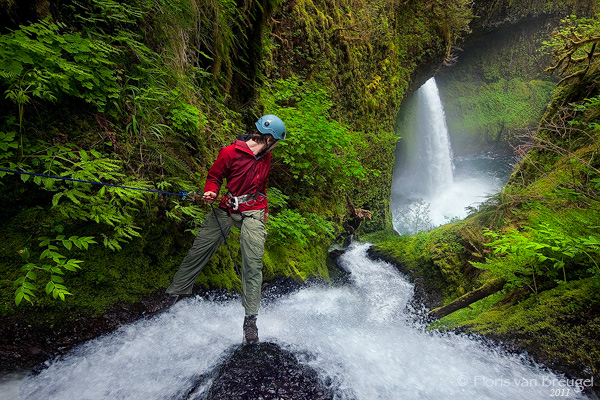 Rappelling in Eagle Creek along the Columbia Gorge