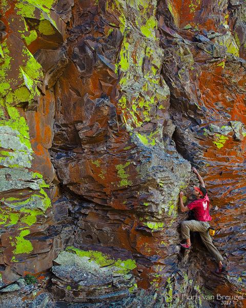 Climber and Lichen, Vantage, Washington,, photo