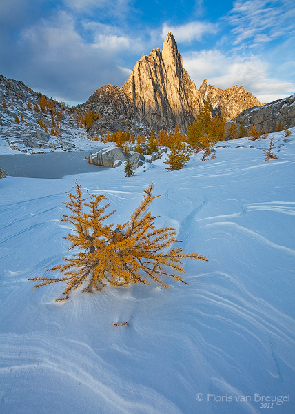 Prusik Peak, Winter Snow, and Fall Larches in the Enchantments