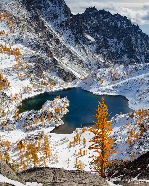 Enchantments in Winter Snow with Fall Larches