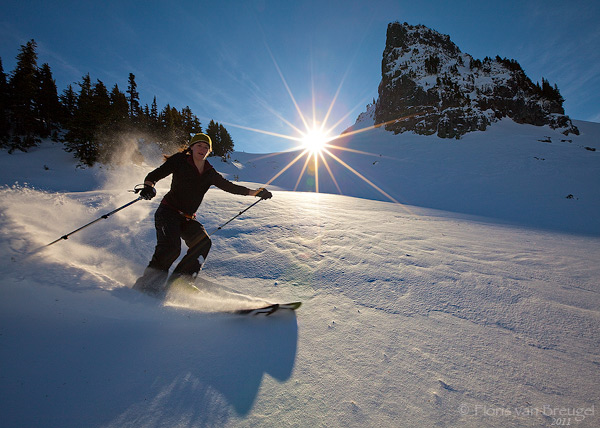 Backcountry skier in the tatoosh range