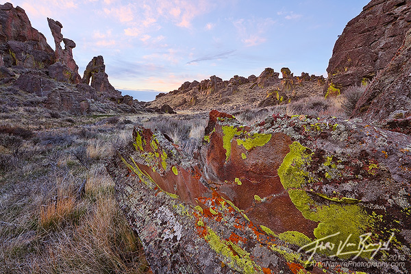 Colorful Lichens and Rhyolite Formations, Bennett Hills, Idaho