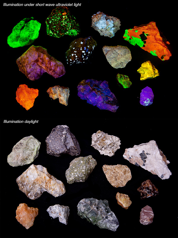 Fluorescent Minerals, Ultraviolet Illumination , photo