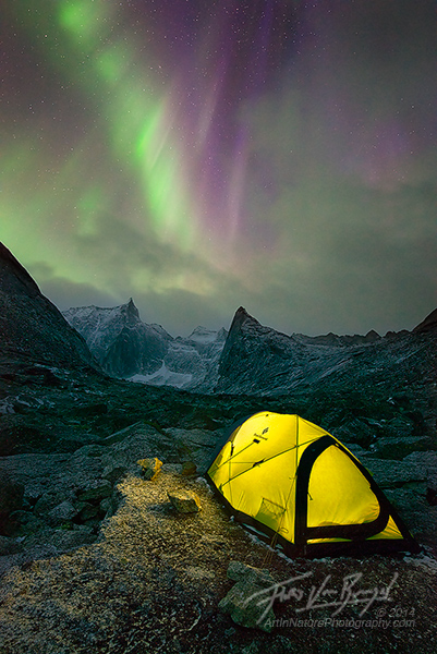 Camping Under the aurora borealis, Brooks Range, Alaska