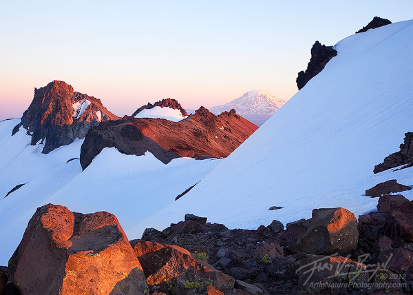 Mount Adams from the Goat Rocks Wilderness, Washington, Ives Peak and Old Snowy Mountain