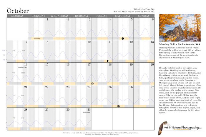 2013 Art in Nature Calendar Sun Moon Tide Charts