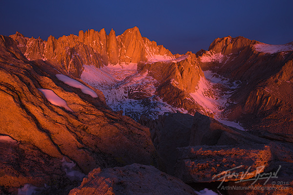 Mt Whitney, Alpenglow, Sierra Nevada