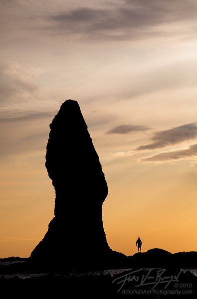 Hiker and Sea Stack, Olympic National Park, Washington, photo
