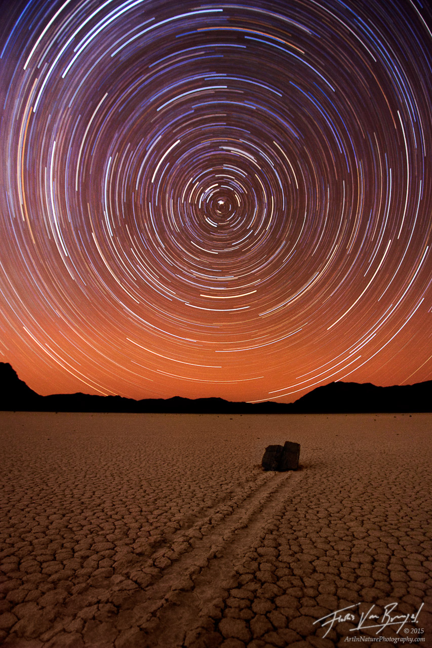 Star Trails over the Racetrack, Death Valley National Park, California, rocks racing stars, north star, playa, moving ro, photo