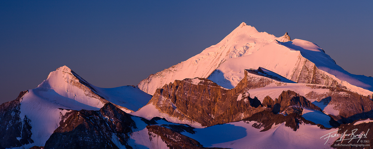 Weisshorn from the Shwarzhorn, Swiss Alps, Switzerland, mountain magic, dawn, , photo