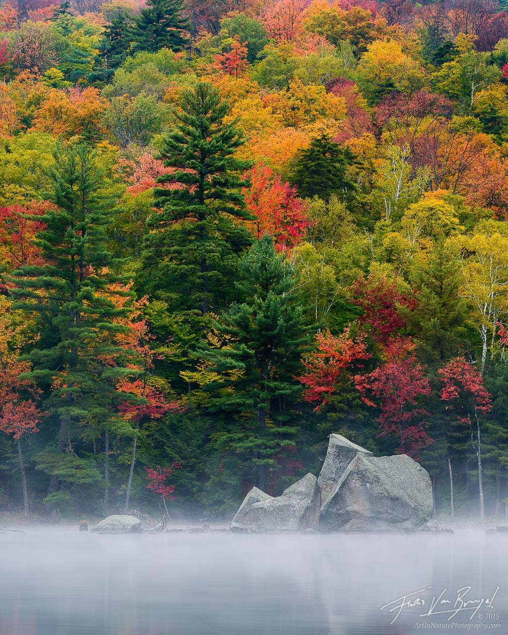 Pharaoh Lake Fall Color, Adirodacks, New York, nature's fireworks, photo
