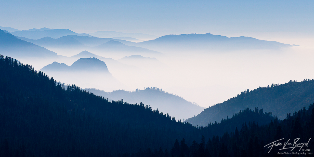 Hazy Foothills, Sequoia and Kings Canyon National Park, California, land waves, mist, sequoias, sierra, photo