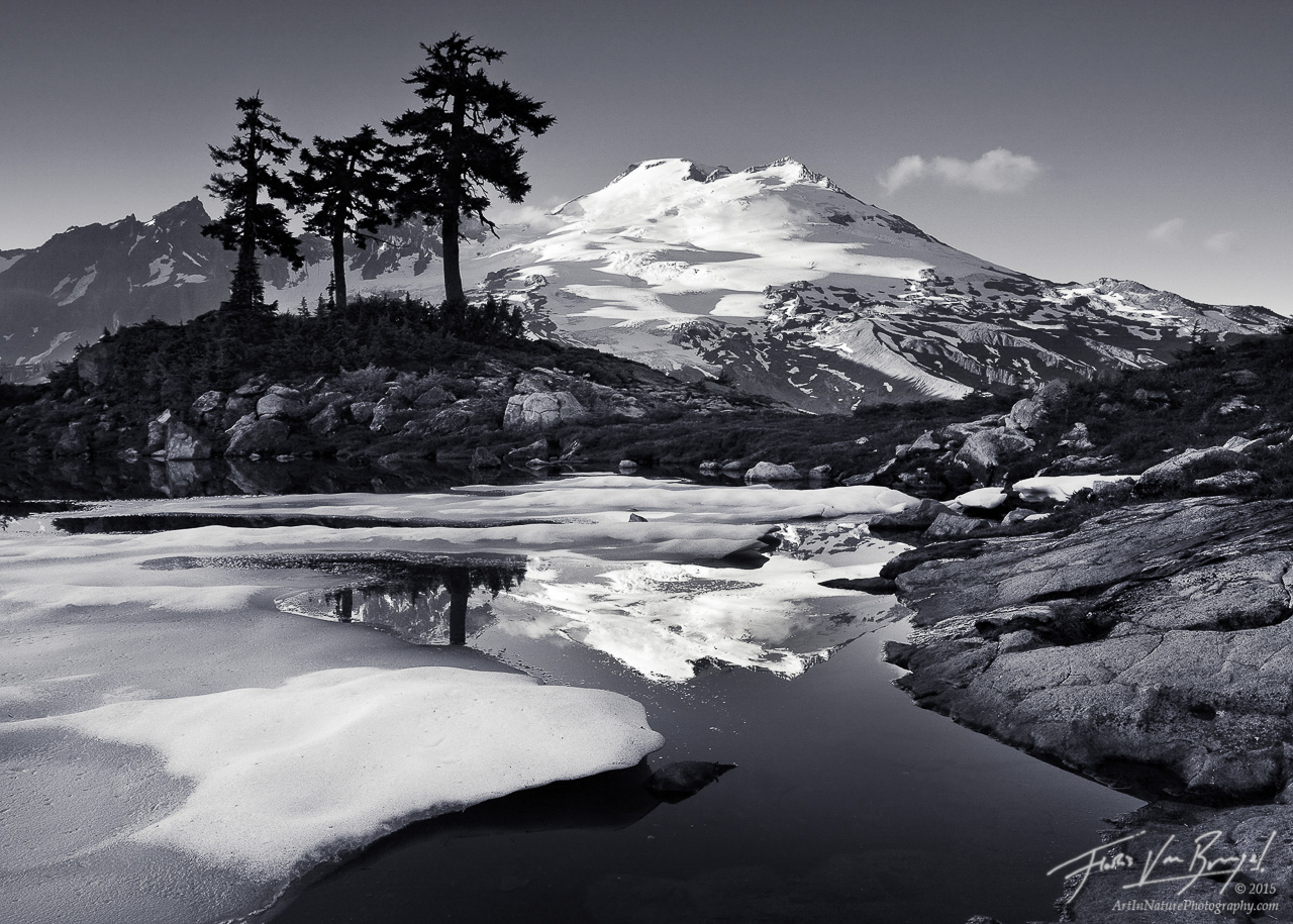 Mount Baker and Tarn, Cascades, Washington, baker's elegance, summer, photo