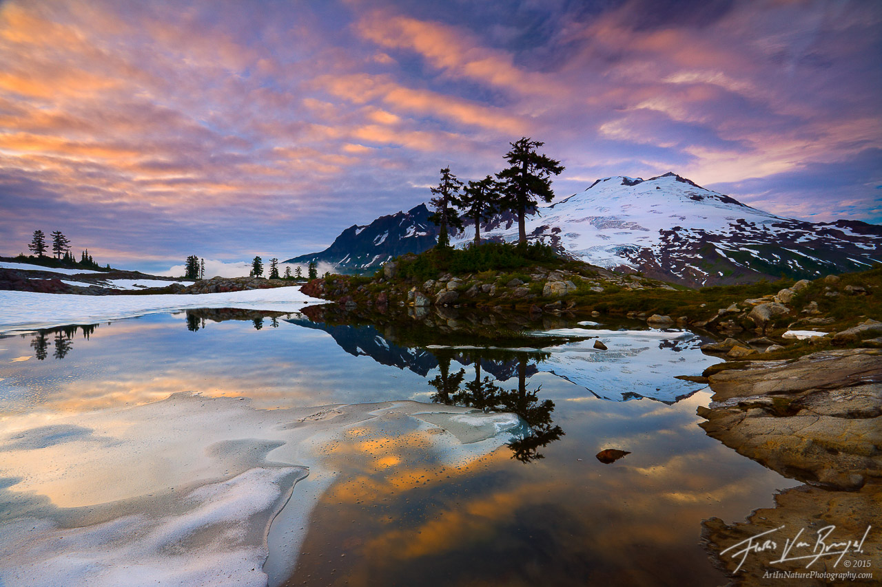 Mount Baker Reflected in Tarn, Snoqualmie National Forest, Washington, mountain dreaming, cascades,, photo