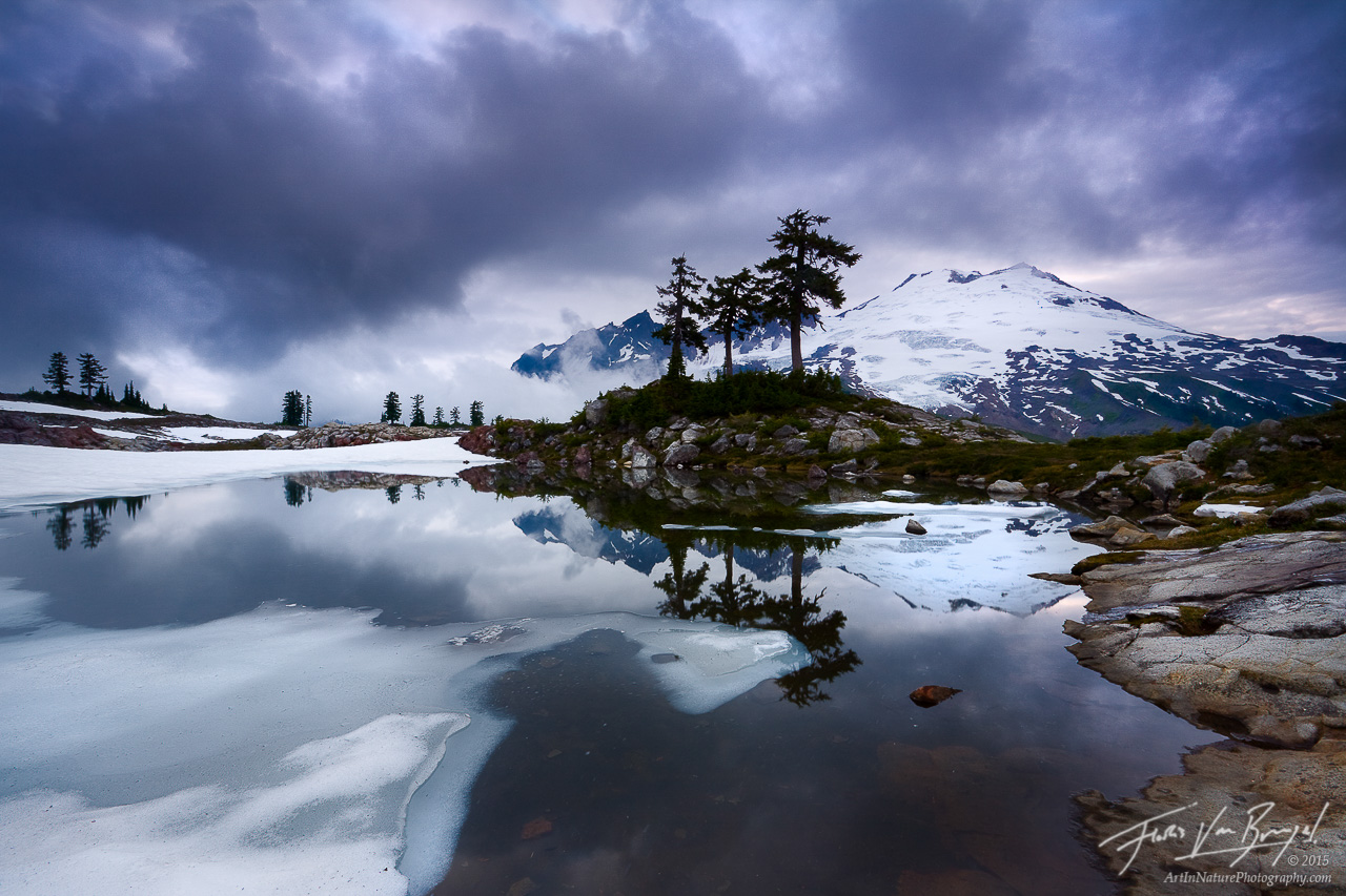 Mount Baker from Park Butte, North Cascades, Washington, wild tranquility, storm, photo