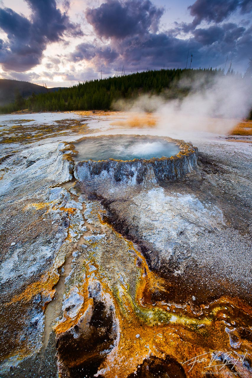 Punchbowl Springs, Yellowstone National Park, Wyoming, hot spring, bacterial mat, witches brew, photo