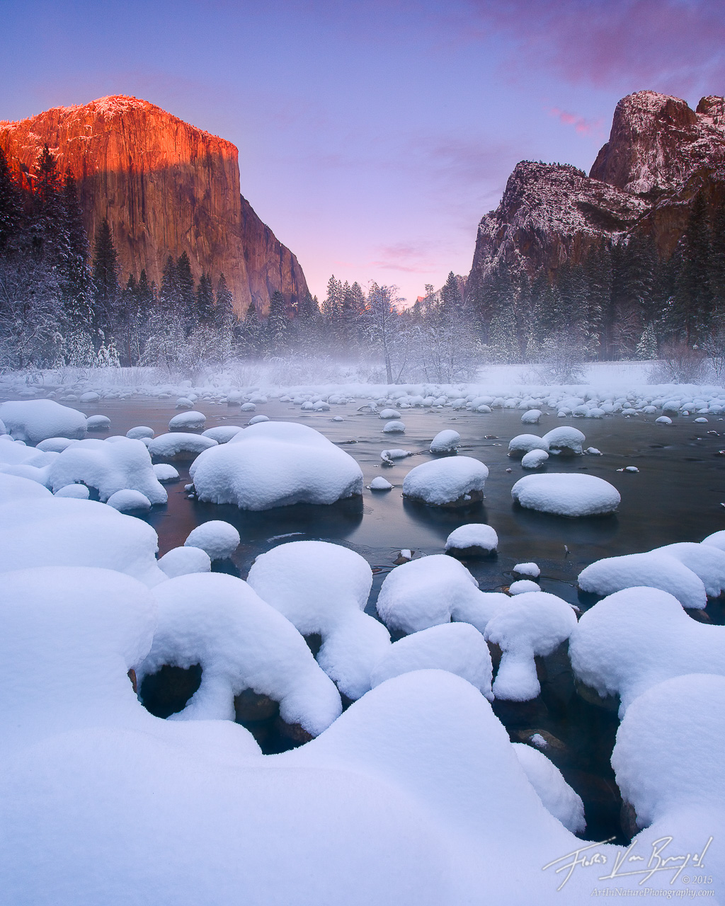 El Capitan and Merced River with Snow in Winter, Yosemite National Park, California, snow pillows, photo