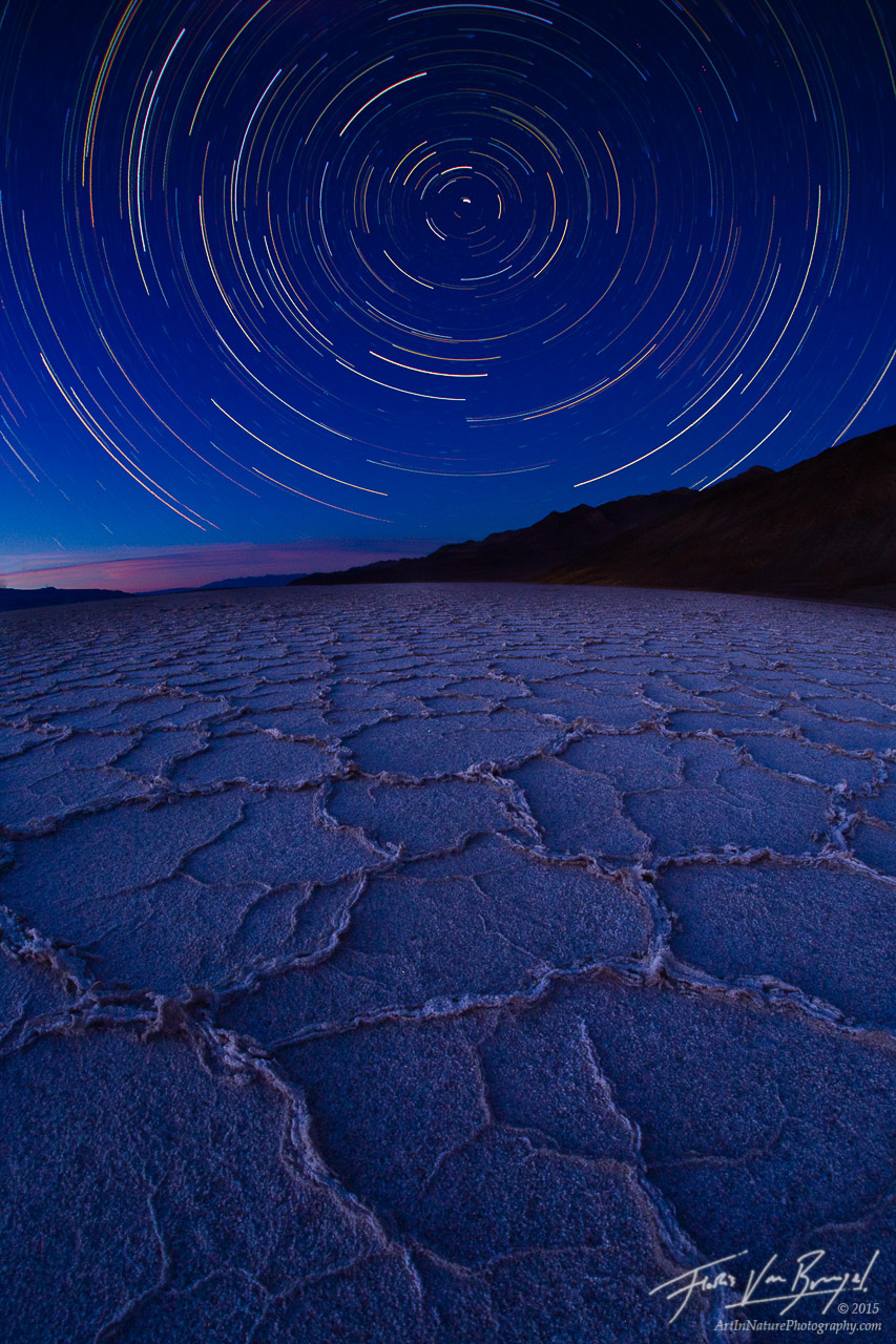 Badwater Star Trails, Death Valley National Park, California, geometry of motion, salt flats, stars, polaris, north star, photo