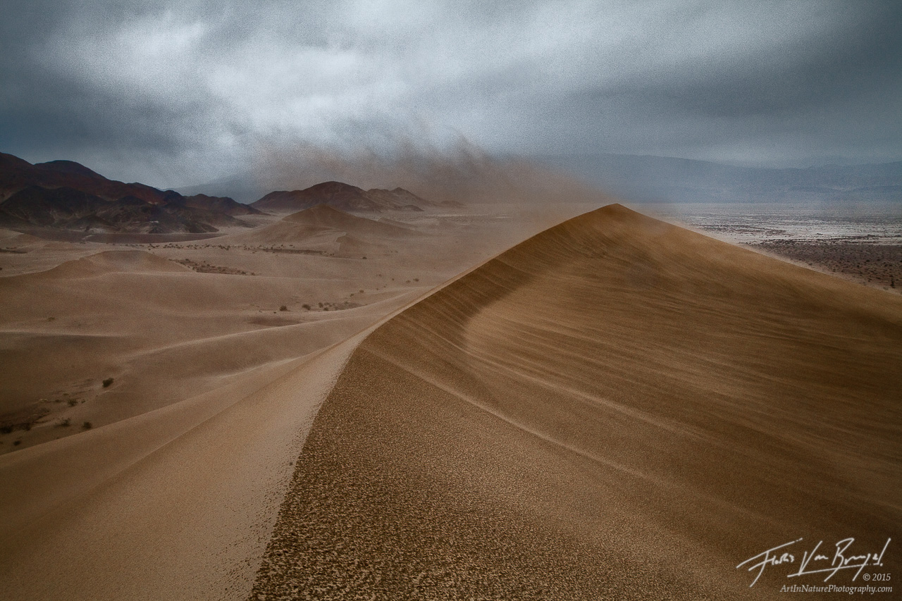 Desert Storm on the Dunes, Death Valley National Park, California, angry sands, photo