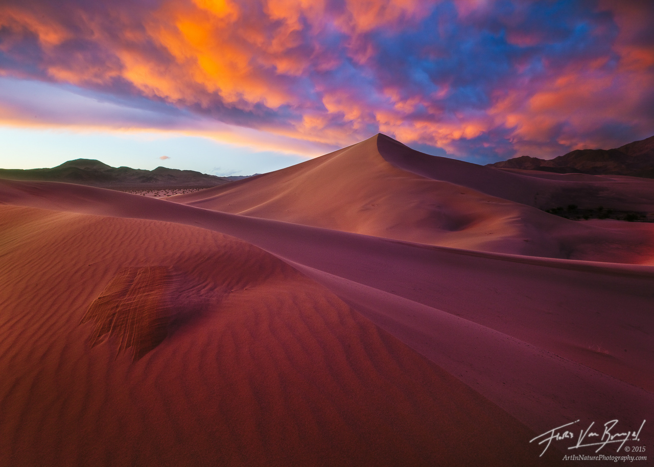 Mammatus Clouds over Sand Dunes, Death Valley National Park, California, dune storm, sunset, photo