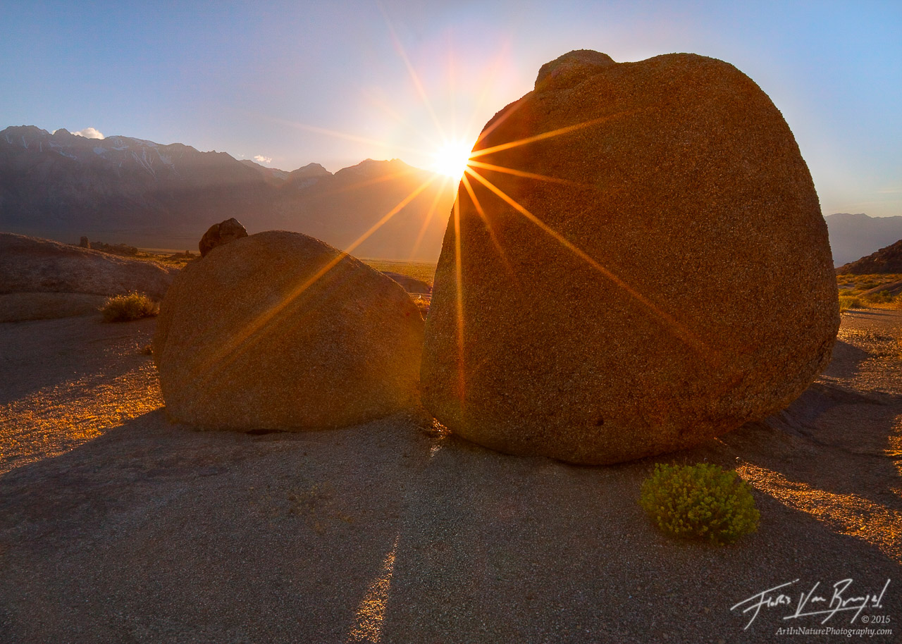 Sensual Boulders and Sun, Alabama Hills, California, lady of the sun, photo